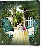 Tea In My Garden Acrylic Print by Trudy Wilkerson