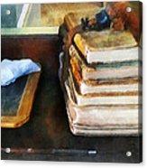 Teacher - Old School Books And Slate Acrylic Print by Susan Savad