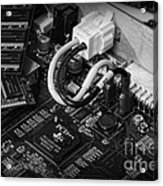 Technology - Motherboard In Black And White Acrylic Print by Paul Ward