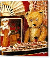 Teddy Bear With Tugboat Doll And Fan Childhood Memories Old Toys And Collectibles Nostalgic Scenes  Acrylic Print by Carole Spandau