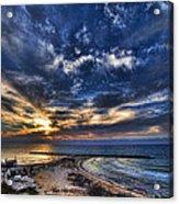 Tel Aviv Sunset At Hilton Beach Acrylic Print by Ron Shoshani