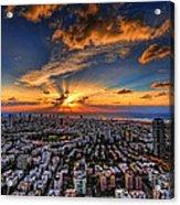 Tel Aviv Sunset Time Acrylic Print by Ron Shoshani