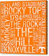 Tennessee College Colors Subway Art Acrylic Print by Replay Photos