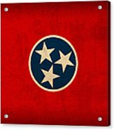 Tennessee State Flag Art On Worn Canvas Acrylic Print by Design Turnpike