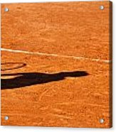 Tennis Player Shadow On A Clay Tennis Court Acrylic Print by Dutourdumonde Photography