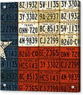 Texas Flag The Lone Star State License Plate Art Acrylic Print by Design Turnpike