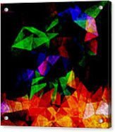 Textured Triangles With Color Acrylic Print by Phil Perkins