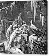 The Albatross Being Fed By The Sailors On The The Ship Marooned In The Frozen Seas Of Antartica Acrylic Print by Gustave Dore