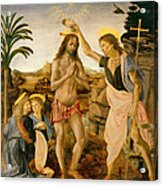 The Baptism Of Christ By John The Baptist Acrylic Print by Leonardo da Vinci
