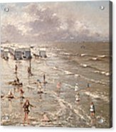 The Beach At Ostend Acrylic Print by Adolphe Jacobs
