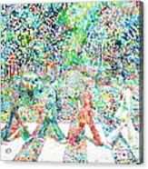 The Beatles Abbey Road Watercolor Painting Acrylic Print by Fabrizio Cassetta