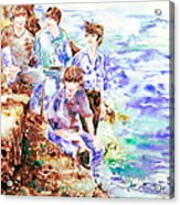The Beatles At The Sea Watercolor Portrait Acrylic Print by Fabrizio Cassetta