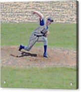 The Big Baseball Pitch Digital Art Acrylic Print by Thomas Woolworth