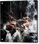 The Birth Of The Double Star. Anna At Eureka Waterfalls. Mauritius. Tnm Acrylic Print by Jenny Rainbow
