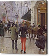 The Boulevard Des Capucines And The Vaudeville Theatre Acrylic Print by Jean Beraud