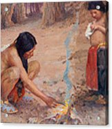 The Campfire Acrylic Print by EI Couse