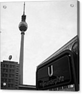 the christmas market in Alexanderplatz with the Berlin Fernsehturm and U-bahn sign Germany Acrylic Print by Joe Fox