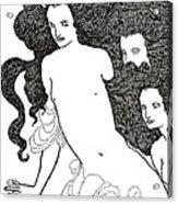 The Comedy Of The Rhinegold Acrylic Print by Aubrey Beardsley