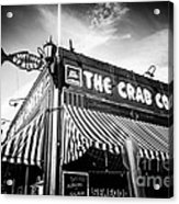 The Crab Cooker Newport Beach Black And White Photo Acrylic Print by Paul Velgos