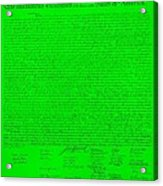 The Declaration Of Independence In Green Acrylic Print by Rob Hans