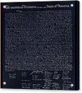 The Declaration Of Independence In Negative Red White And Blue Acrylic Print by Rob Hans