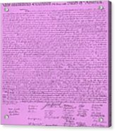 The Declaration Of Independence In Pink Acrylic Print by Rob Hans