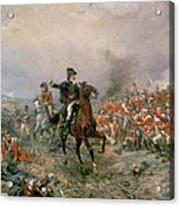 The Duke Of Wellington At Waterloo Acrylic Print by Robert Alexander Hillingford