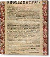 The Emancipation Proclamation Acrylic Print by American School