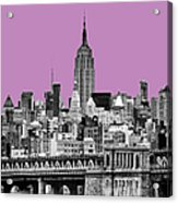 The Empire State Building Pantone African Violet Acrylic Print by John Farnan