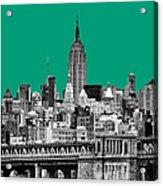 The Empire State Building Pantone Emerald Acrylic Print by John Farnan