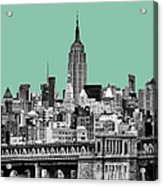 The Empire State Building Pantone Jade Acrylic Print by John Farnan