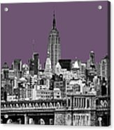 The Empire State Building Plum Acrylic Print by John Farnan