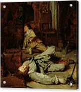 The End Of The Game Of Cards Acrylic Print by Jean Louis Ernest Meissonier