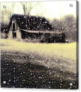 The First Snow Fall On The Old Barn Acrylic Print by Lisa  Griffin