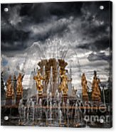 The Friendship Fountain Moscow Acrylic Print by Stelios Kleanthous