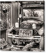 The Garage Sale Black And White Acrylic Print by JC Findley