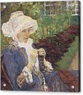 The Garden Acrylic Print by Mary Cassatt