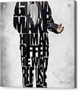 The Godfather Inspired Don Vito Corleone Typography Artwork Acrylic Print by Ayse Deniz