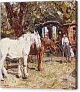 The Gypsy Encampment Acrylic Print by Harry Fidler