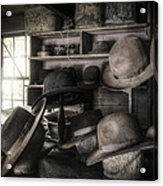 The Hatters Shop - 19th Century Hatter Acrylic Print by Gary Heller