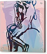 The Kissing - Rodin Stylized Pop Art Poster Acrylic Print by Kim Wang