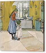 The Kitchen From A Home Series Acrylic Print by Carl Larsson