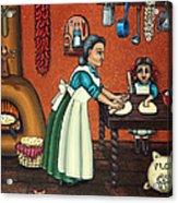 The Lesson Or Making Tortillas Acrylic Print by Victoria De Almeida