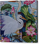The Lotus Pond Hand Embroidery Acrylic Print by To-Tam Gerwe
