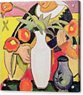 The Lute Player Acrylic Print by August Macke