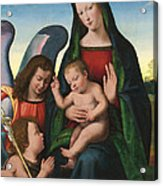 The Madonna And Child With The Young Saint John The Baptist And An Angel  Acrylic Print by Giuliano Buigardini and Mariotto Albertinelli