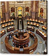 The Main Reading Room Of The Library Of Congress Acrylic Print by Allen Beatty