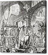 The Man On The Rack Plate II From Carceri D'invenzione Acrylic Print by Giovanni Battista Piranesi