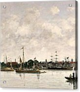 The Meuse At Dordrecht Acrylic Print by Eugene Louis Boudin