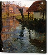 The Mill Stream Acrylic Print by Fritz Thaulow